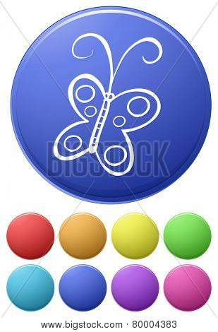 Small buttons and a big button with a butterfly on a white background