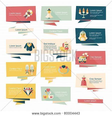 Wedding Banner Flat Design Background Set, Eps10