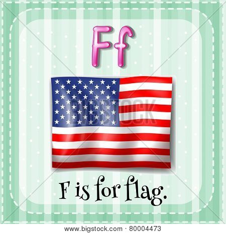 Illustration of an alphabet F is for flag