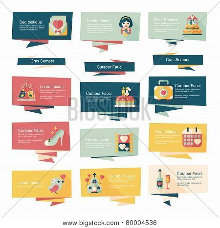 Wedding Banner Flat Design Background Set, Eps10