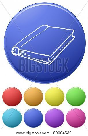Small buttons and a big button with a notebook on a white background