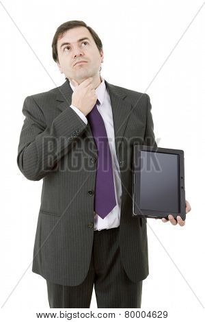 pensive businessman using a tablet pc, isolated