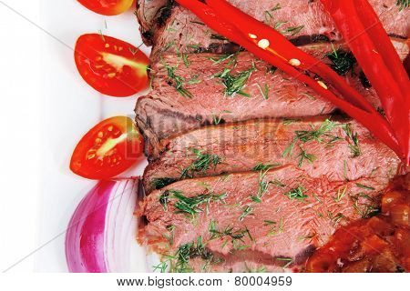 hot beef on plate over white background