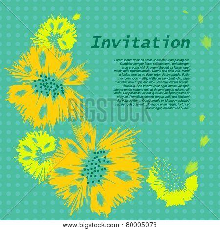 Floral Frame And Petals. Element For Design