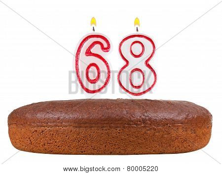 Birthday Cake Candles Number 68 Isolated