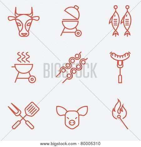 Barbecue and grill icon set, thin line style, flat design