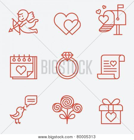 St. Valentine's Day icons, thin line style, flat design