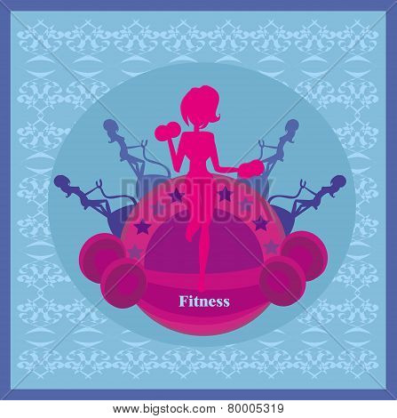 Abstract Fitness Girl Training Card