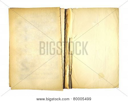 Open Cover Writing-book With  Metal Clip For Record On The Isolated White Background