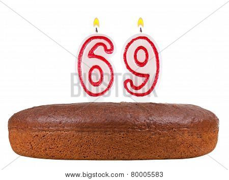 Birthday Cake Candles Number 69 Isolated
