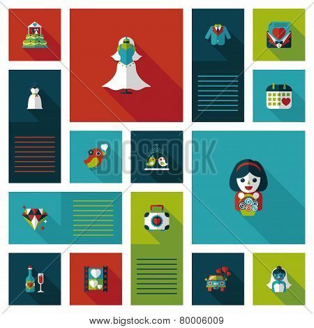 Wedding Ui Flat Design Background Set, Eps10