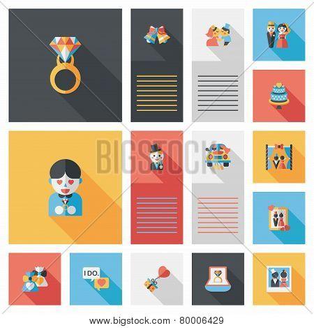 Wedding Ui Flat Design Background Set, Eps10