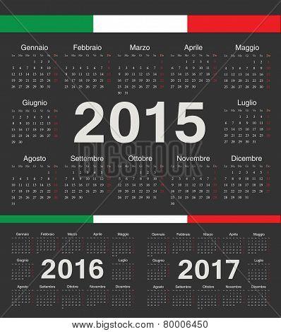 Vector Black Italian Circle Calendars 2015, 2016, 2017
