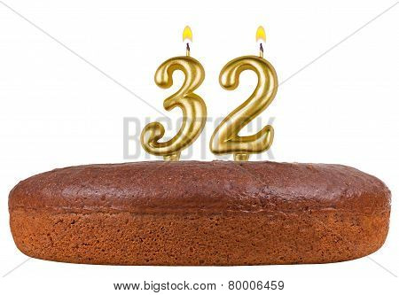 Birthday Cake Candles Number 32 Isolated