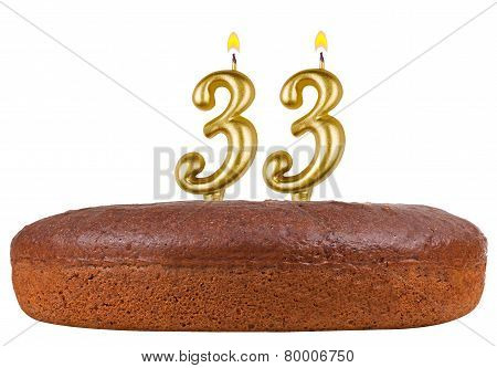 Birthday Cake Candles Number 33 Isolated
