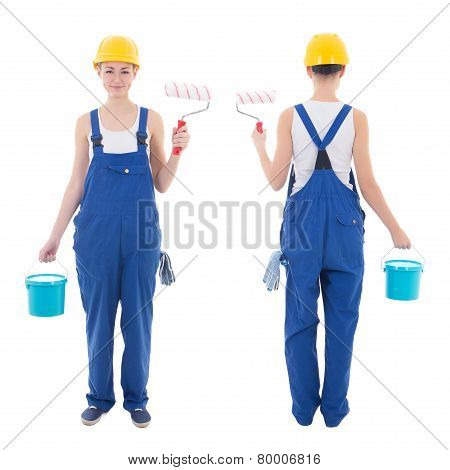 Front And Back View Of Young Woman Painter In Blue Coveralls Isolated On White