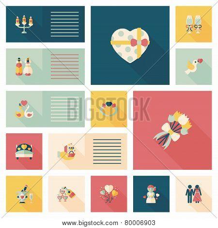 Wedding Flat Design Background Set,