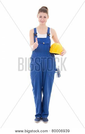 Young Attractive Woman Builder In Workwear Thumbs Up Isolated On White