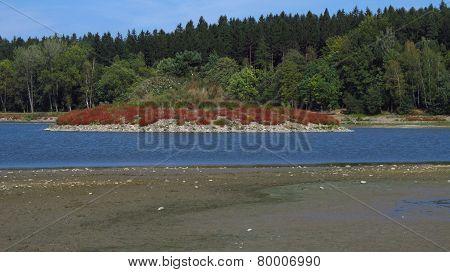 island in the drying dam