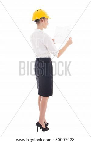 Business Woman Architect In Yellow Builder Helmet With Building Plan Isolated On White