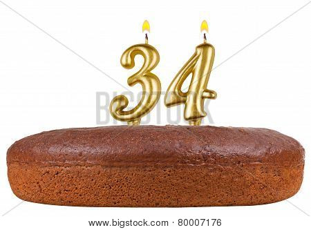 Birthday Cake Candles Number 34 Isolated