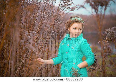 Beautiful girl in mystical woods
