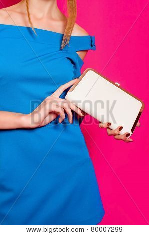 Beautiful girl in fashion dress with  clutch