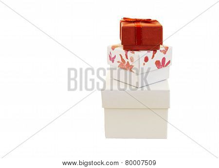 Gift Boxes  Isolated On White Background .
