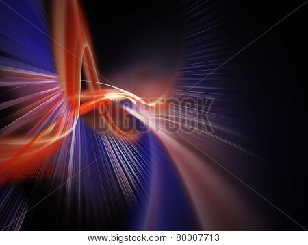 Dynamic red and blue abstract composition