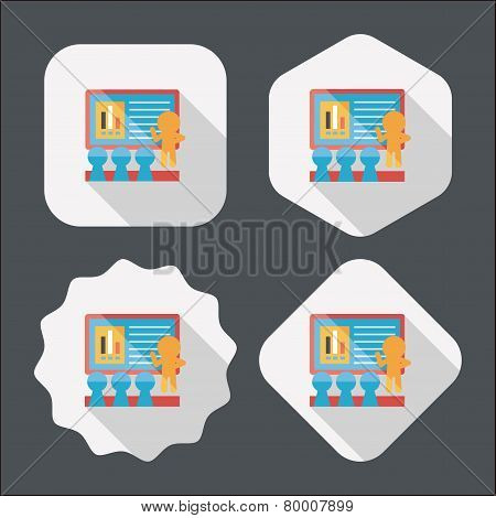 Speaker At Business Workshop Flat Icon With Long Shadow,eps10