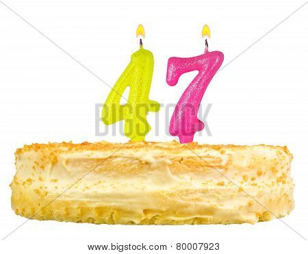 Birthday Cake With Candles Number Forty Seven