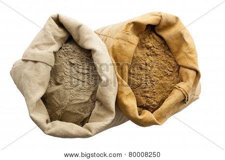 henna basma powder isolated white background linen sack poster