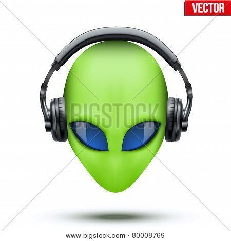 Alien head with headphones. Vector.
