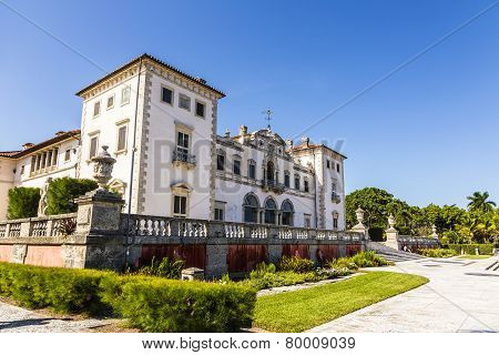 MIAMI, USA - MAY 6, 2012: Vizcaya Floridas grandest residence once belongs to millionaire industrialist James Deering is in downtown Miami Florida USA.
