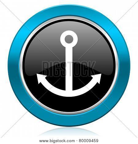 anchor glossy icon sail sign