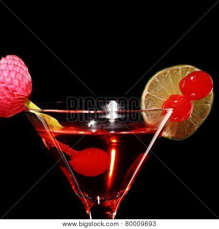 Cosmopolitan Martini Fresh Coctail Isolated On Black