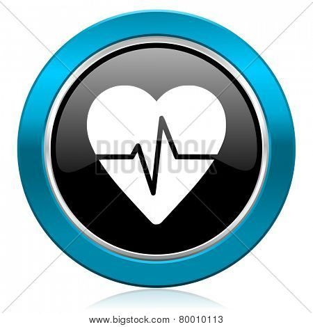 pulse glossy icon heart rate sign