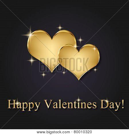 Elegant Golden Vector Valentine Hearts