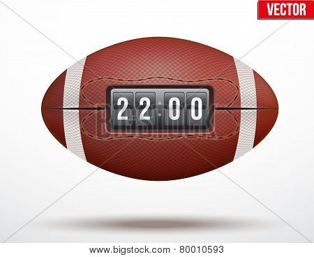 American Football ball with score of the game