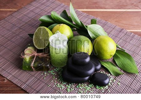 Spa still life on bamboo mat and wooden table background