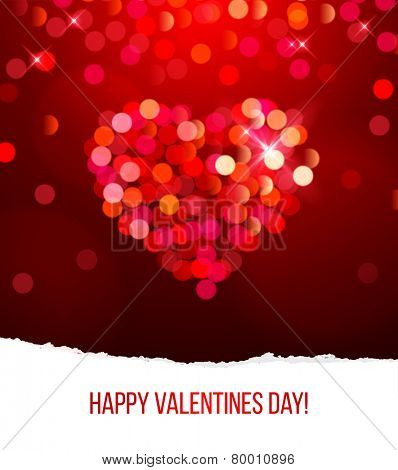 Valentine's day card with bright bokeh heart