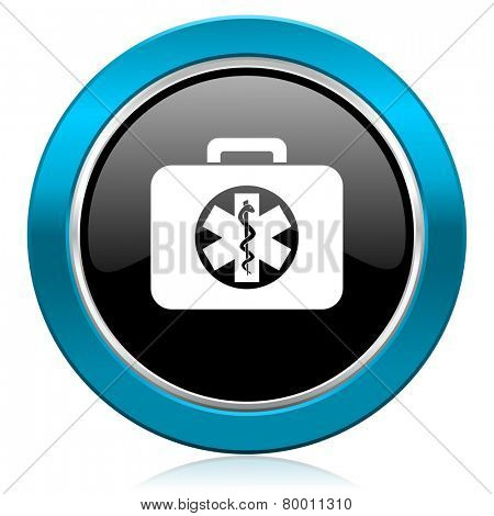 rescue kit glossy icon emergency sign