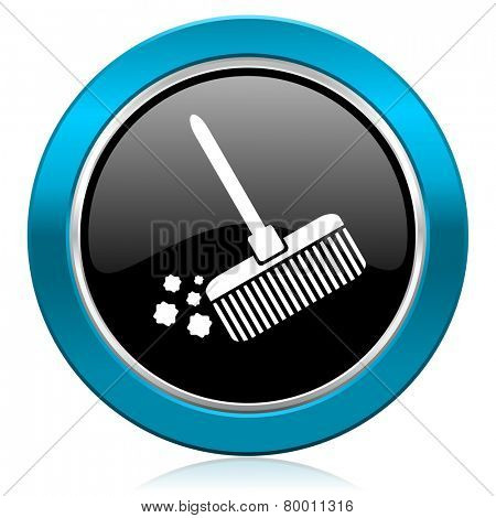 broom glossy icon clean sign