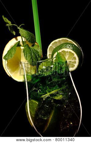 Mojito Fresh Coctail Isolated On Black