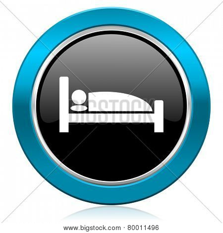 hotel glossy icon bed sign