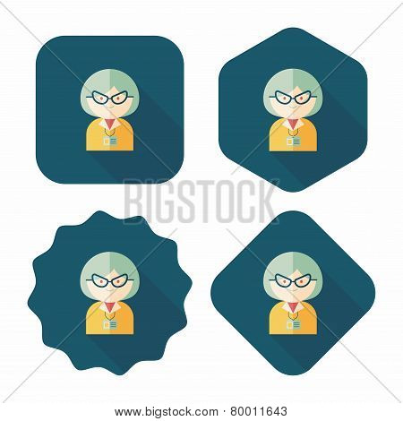 Businesswoman Flat Icon With Long Shadow,eps10