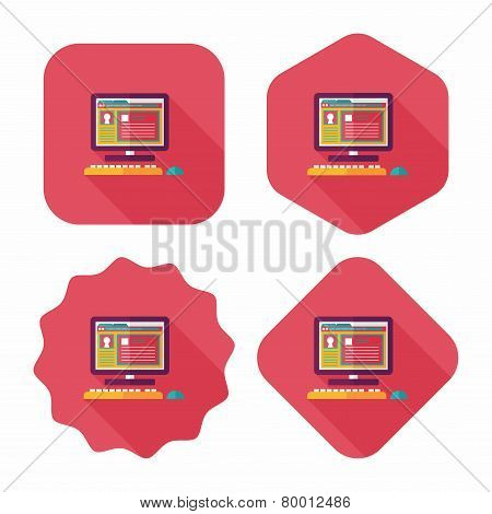 Computer Flat Icon With Long Shadow,eps10