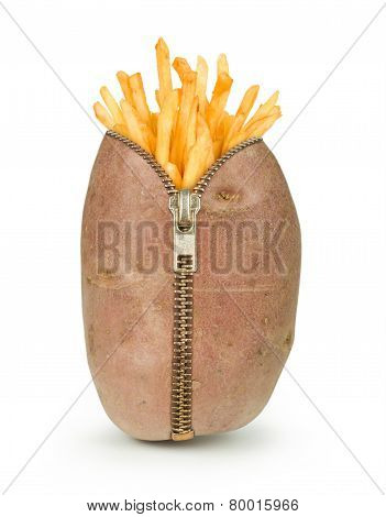 french potatoes in row potato with zipper isolated on white background, french potatoes concept