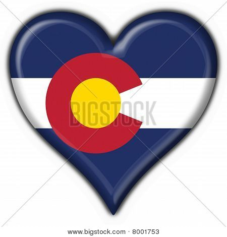 Colorado (usa State) Button Flag Heart Shape