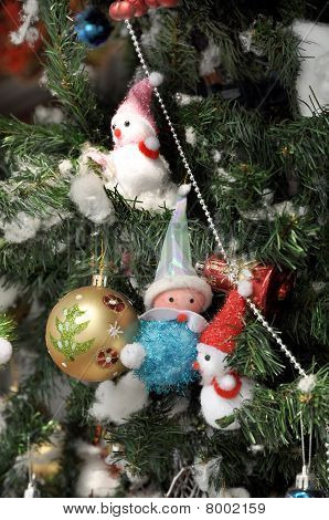 Santa Snowman Doll Ball Tree